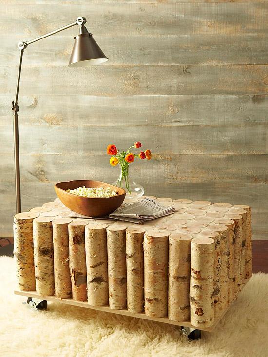 DIY Birch Log Coffee Table