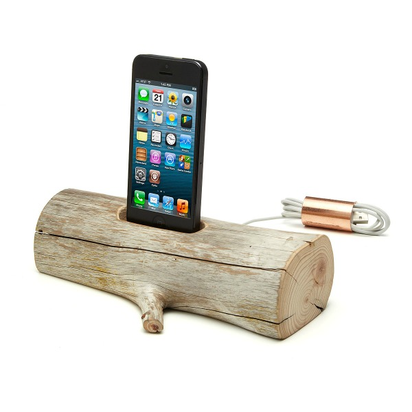 Driftwood Log iPhone Docking Station