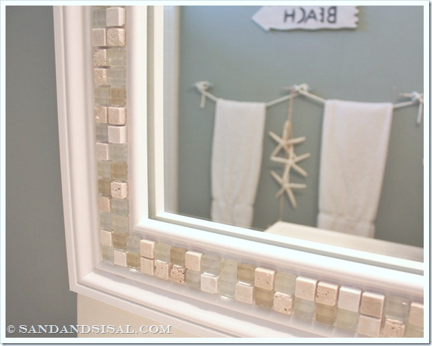 how to decorate a mirror with tile sand and sisal