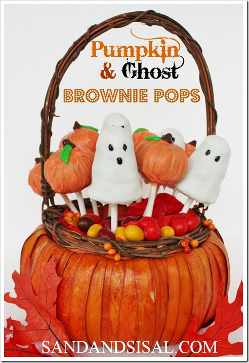 Pumpkin & Ghost Brownie Pops