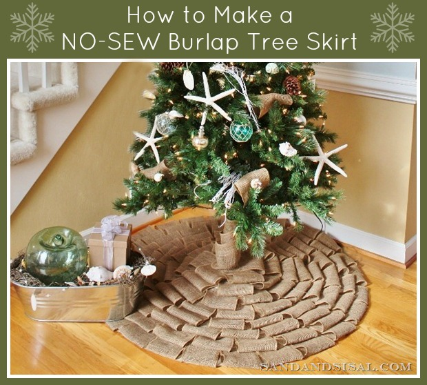 How to Make a No Sew Burlap Tree Skirt