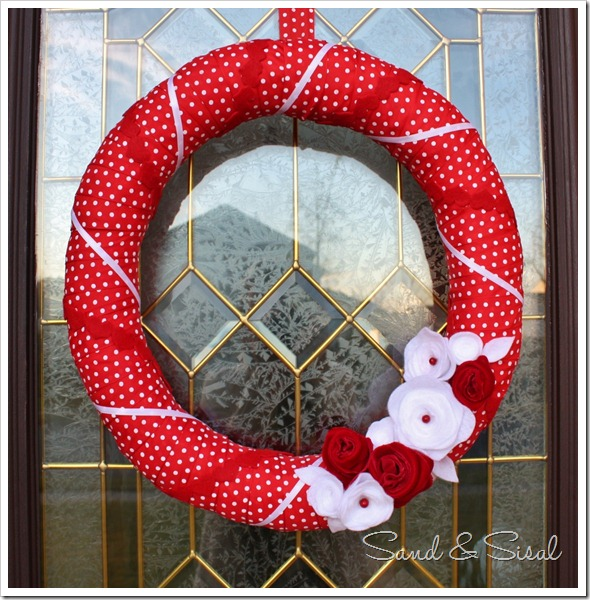 Valentine Felt Flower Wreath