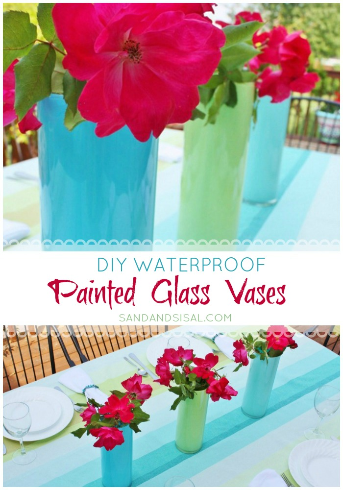 DIY Waterproof Painted Vases - www.sandandsisal.com