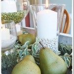 Green and White Fall centerpiece