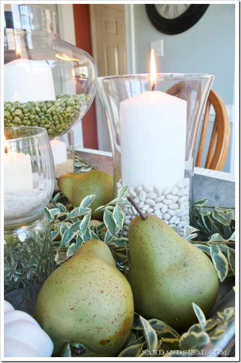 Green and White Autumn Centerpiece