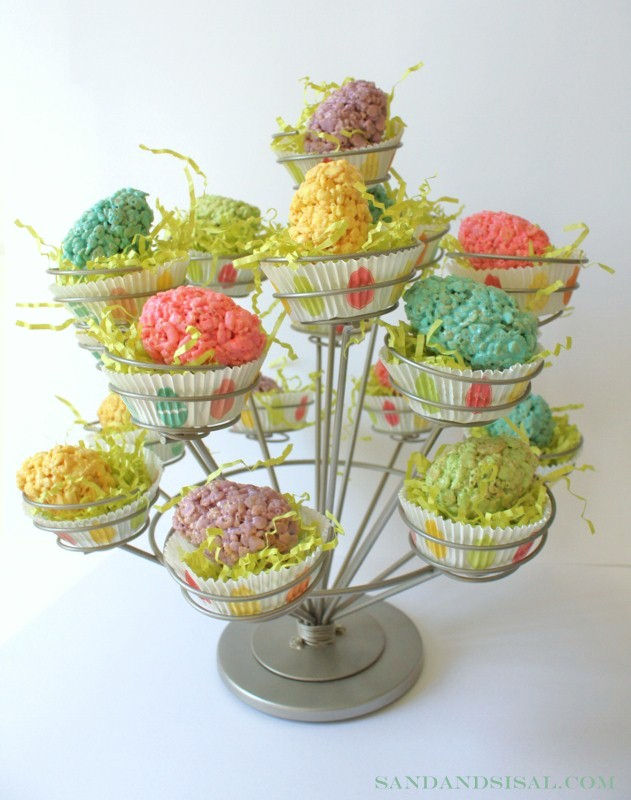 Rice Krispie Egg Tree -Sand and Sisal
