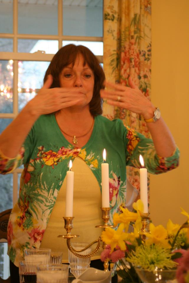 Mom saying seder blessing