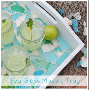 Sea Glass Mosaic Tray - Sand and Sisal