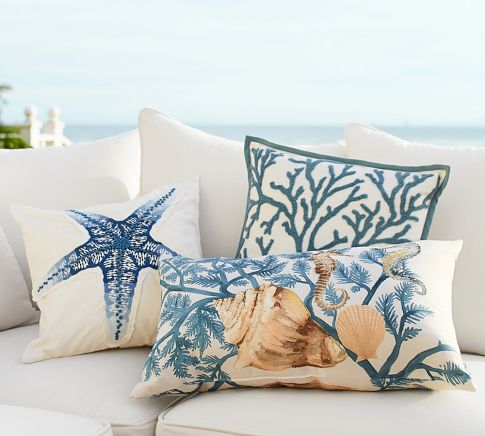watercolor coastal pillows