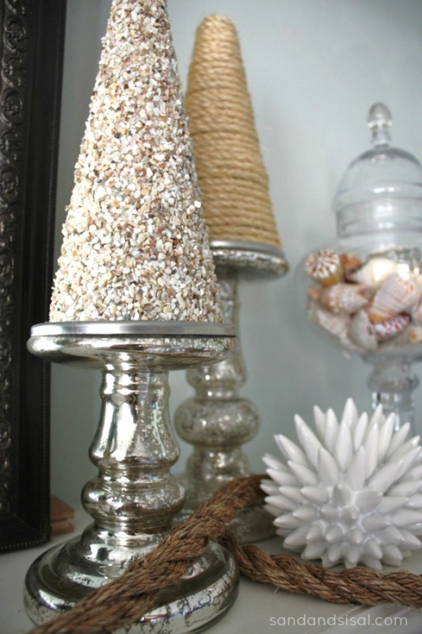 Coastal mantel sand and sisal for Home depot christmas decorations 2013