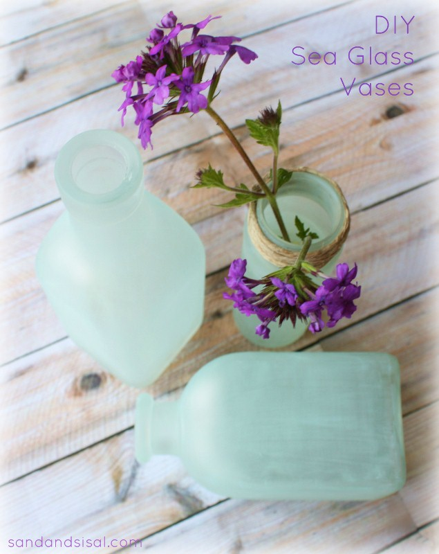 DIY Sea Glass Vases - www.sandandsisal.com