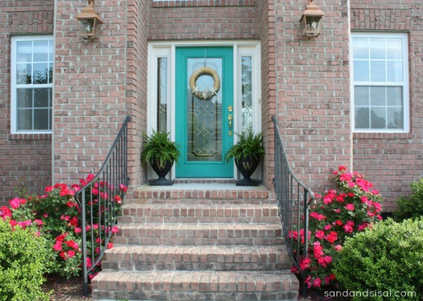 turquoise front doorColor Me Turquoise  Sand and Sisal
