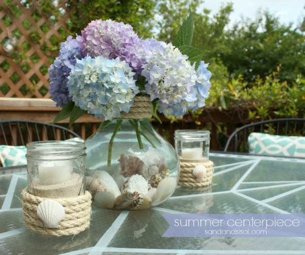 Simple summer centerpiece hop sand and sisal