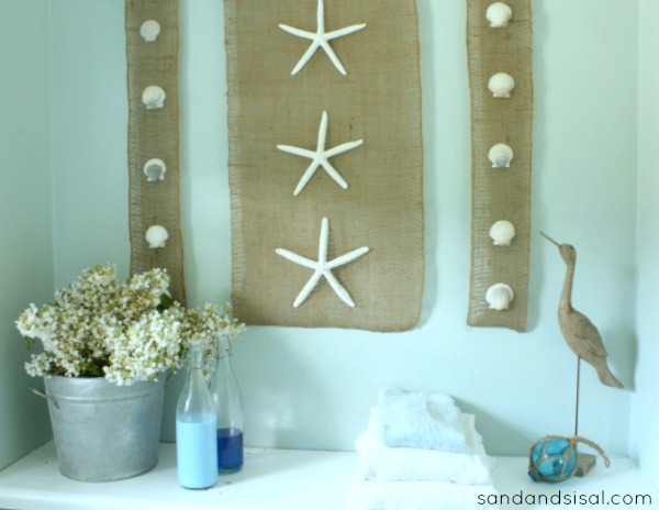 Diy Wall Art Coastal Burlap Craft Sand And Sisal