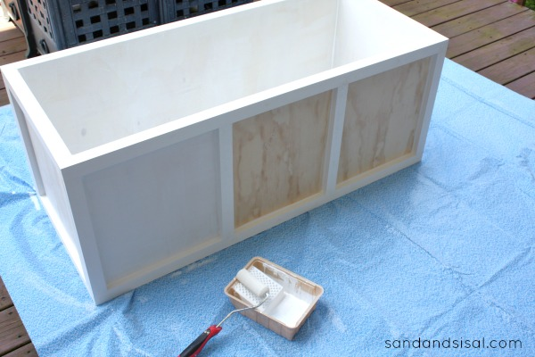 diy outdoor storage box bench sand and sisal. Black Bedroom Furniture Sets. Home Design Ideas