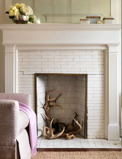 Antlers in fireplace