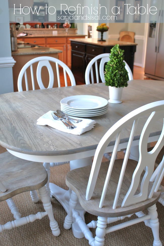 How to refinish a table sand and sisal - Refinish contemporary dining room tables ...