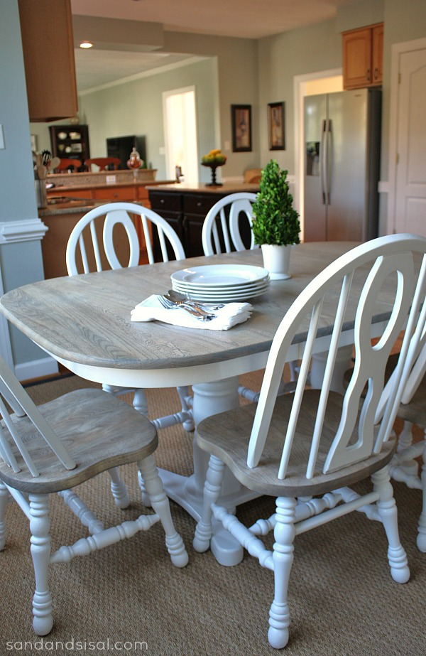How to refinish a table sand and sisal for How to redo your kitchen