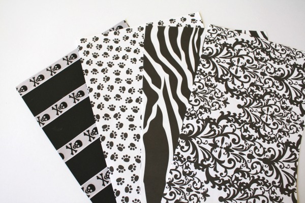 black and white scrap paper prints