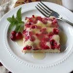 Cranberry Cake with warm Vanilla Cream Sauce