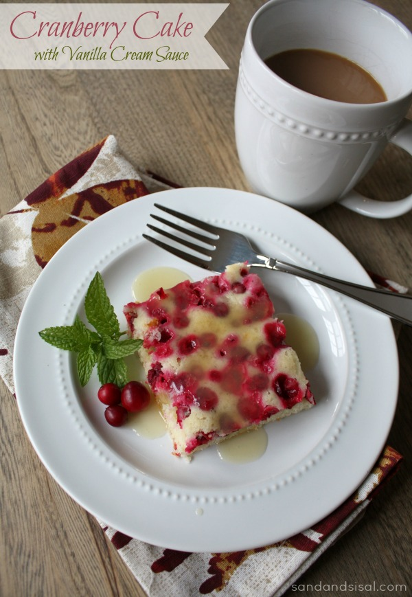 Cranberry Cake with Vanilla Cream Sauce