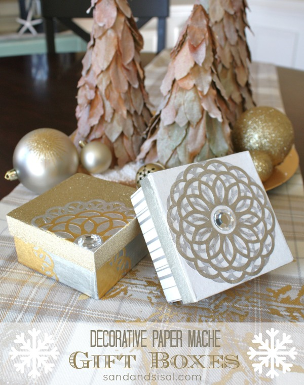DIY Decorative Paper Mache Gift Boxes #MSHoliday
