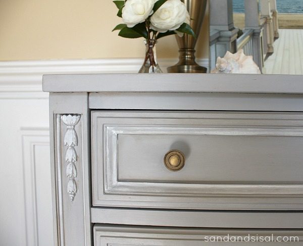 Gray and Gold painted dresser makeover
