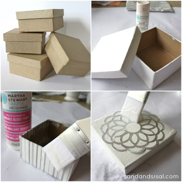 Decorative Cardboard Boxes For Gifts : Decorative decoupage gift boxes sand and sisal