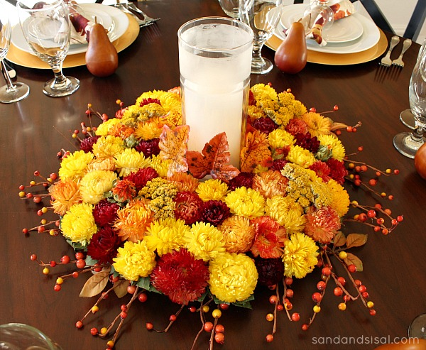 Flower Centerpiece Thanksgiving : Thanksgiving tablescape sand and sisal