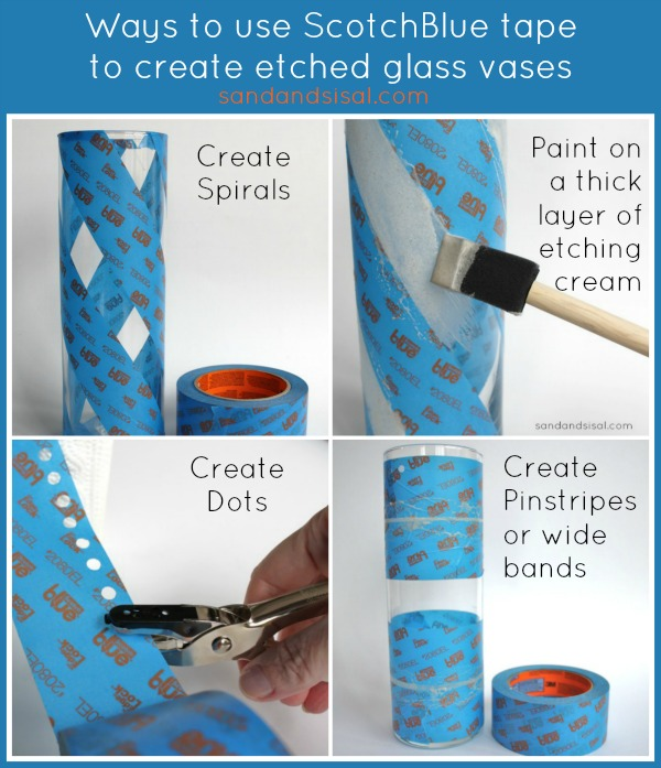 Ways to use Scotch Blue Tape to Create Etched Glass Vases