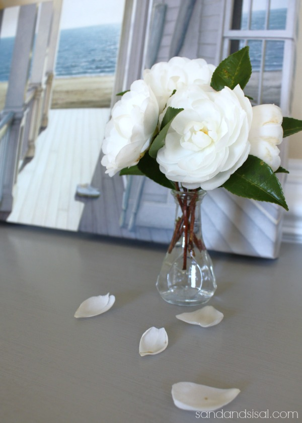 White Camellia on Paris Gray Chalk Painted Furniture