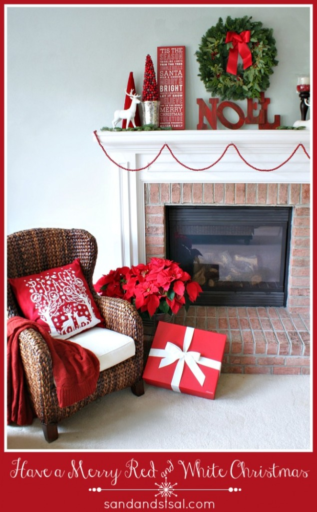 A Red and White Christmas Mantel