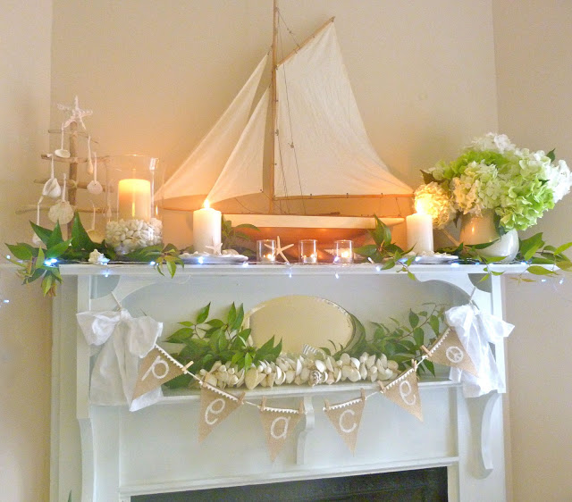 Coastal Christmas Mantels