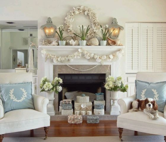 Coastal Christmas Mantels Sand And Sisal