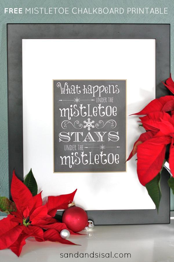 Free Mistletoe Chalkboard Printable