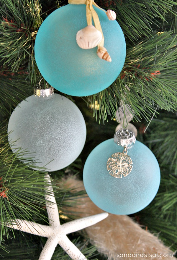 Sea Glass Ornaments - Sand and Sisal