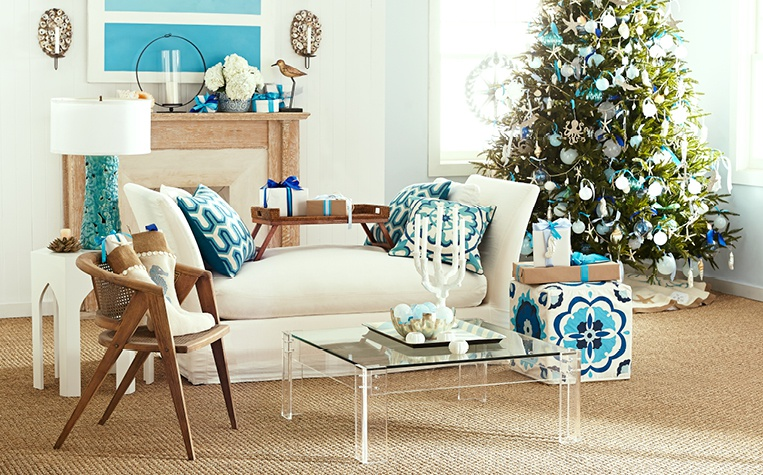 coastal christmas living room - Coastal Themed Christmas Decorations