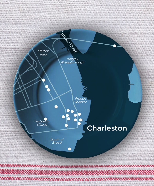 Charleston City Map Plate
