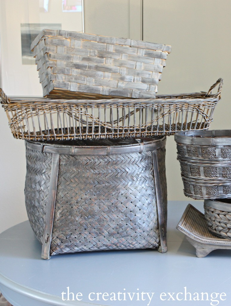 Driftwood stained baskets