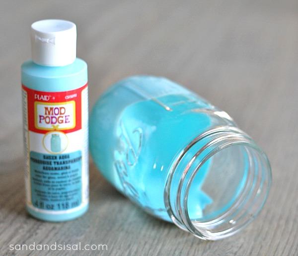 Mason Jar Crafts- Mod Podge Sheer Aqua