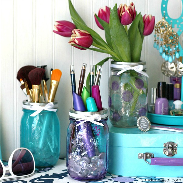 Mason Jar Craft Make Up Organization Sand And Sisal