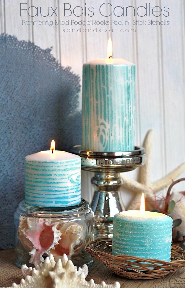 Faux Bois (wood grain) Candles