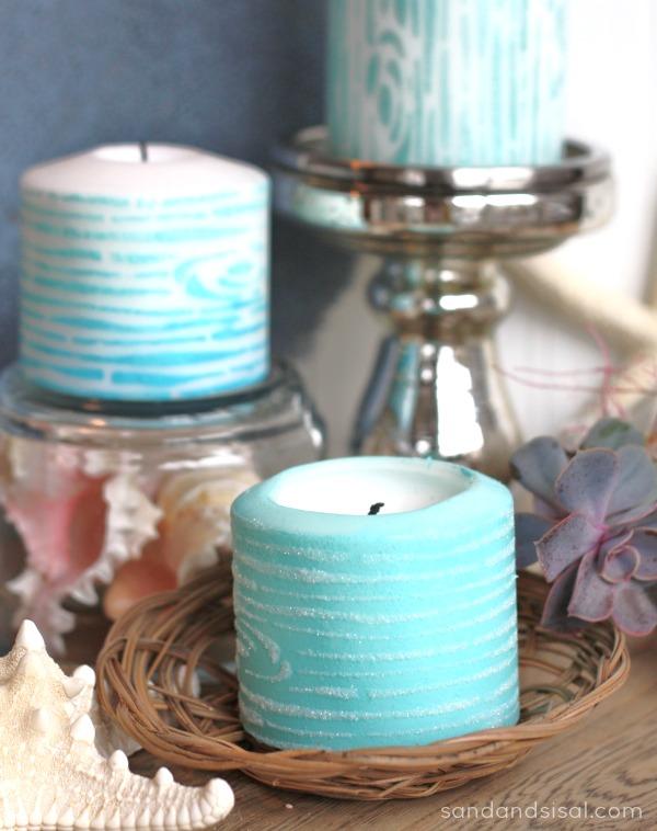 Faux Bois Painted Candles