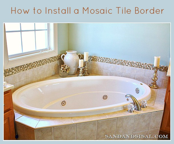 Add a glass stone tile border sand and sisal for Glass tile border bathroom ideas