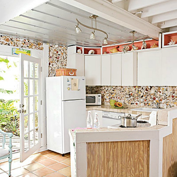 10 beach backsplash ideas sand and sisal white cottage style kitchen with open shelving and a