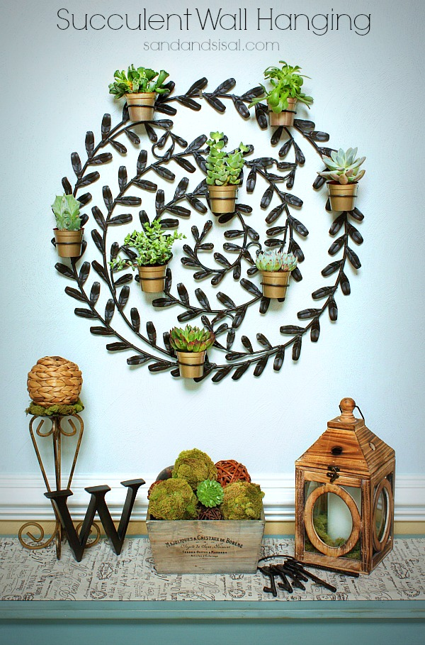 Succulent Wall Hanging Sand And Sisal