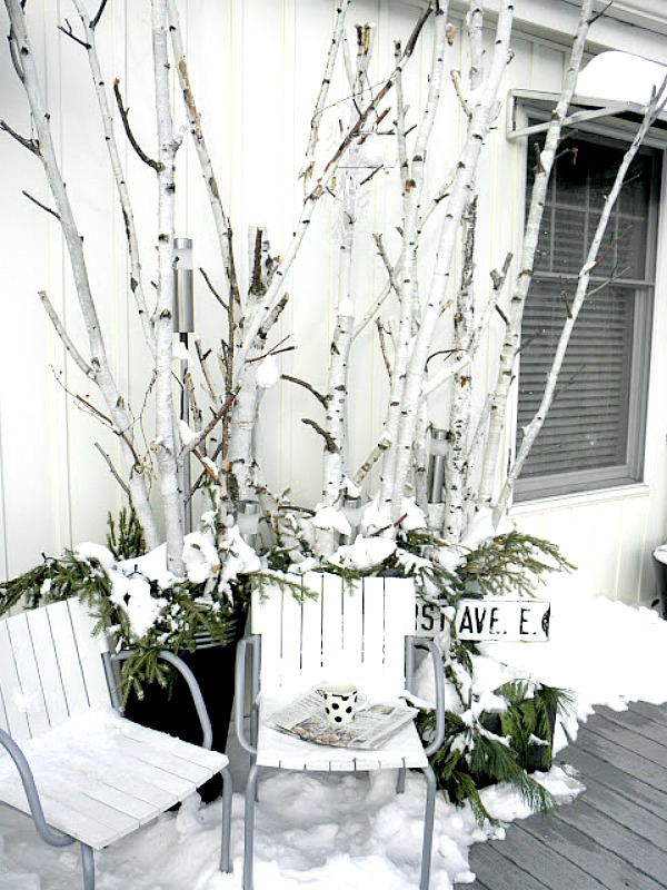 birch branch winter porch decor - Birch Christmas Decorations