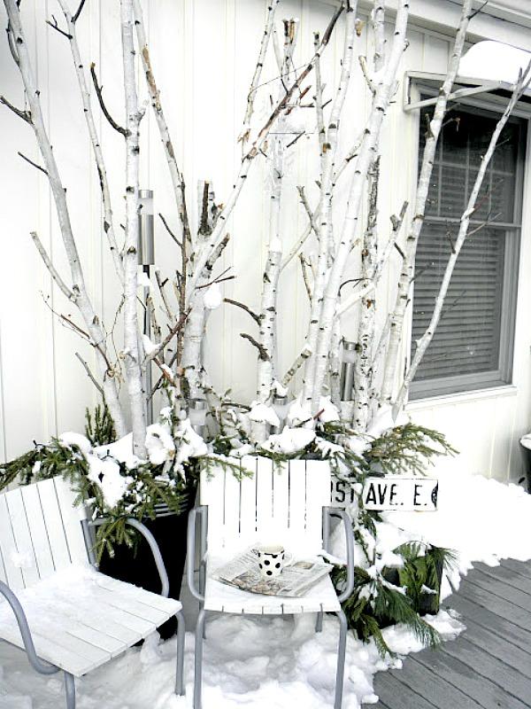 Birch Branch Winter Porch Decor