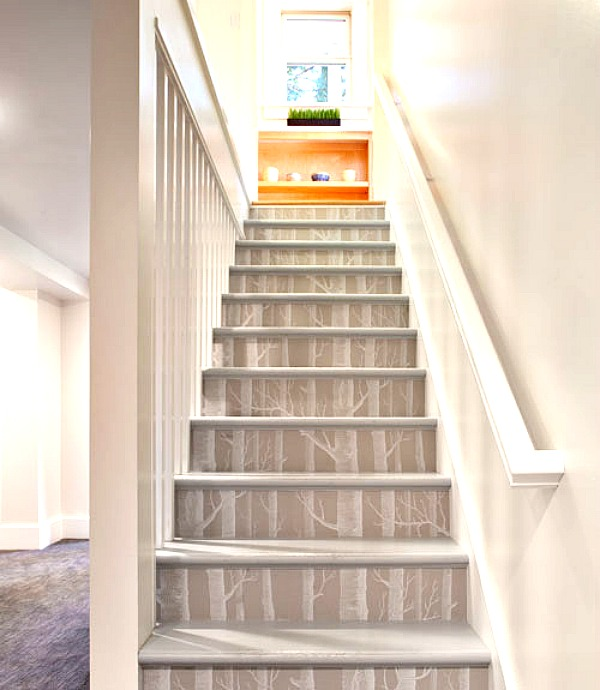 Birch Wallpaper on Stairs