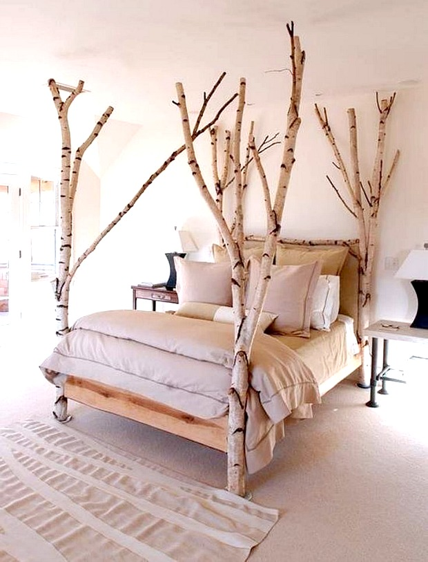 white tree branch bed frame | Decorating with Birch - Sand and Sisal